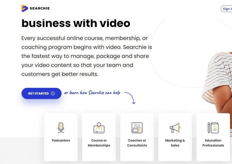 Searchi Business with Video landing page
