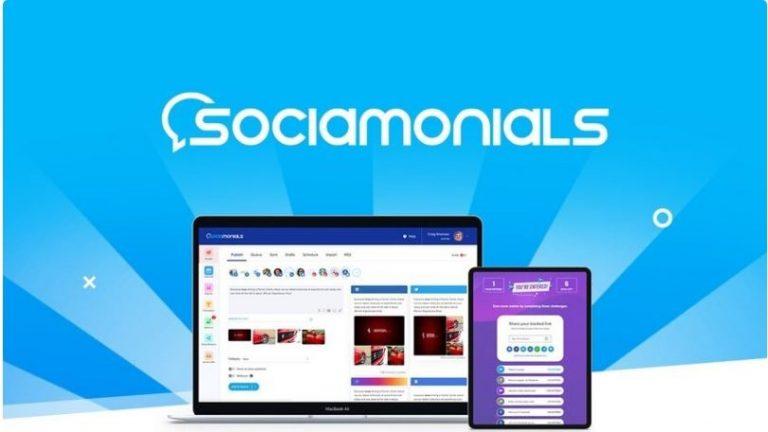 Sociamonials icon in desktop and mobile